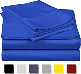 True Luxury 1000-Thread-Count 100% Egyptian Cotton Bed Sheets, 4-Pc Queen Royal Egyptian Blue Sheet Set, Single Ply Long-Staple Yarns, Sateen Weave, Fits Mattress Upto 18'' Deep Pocket