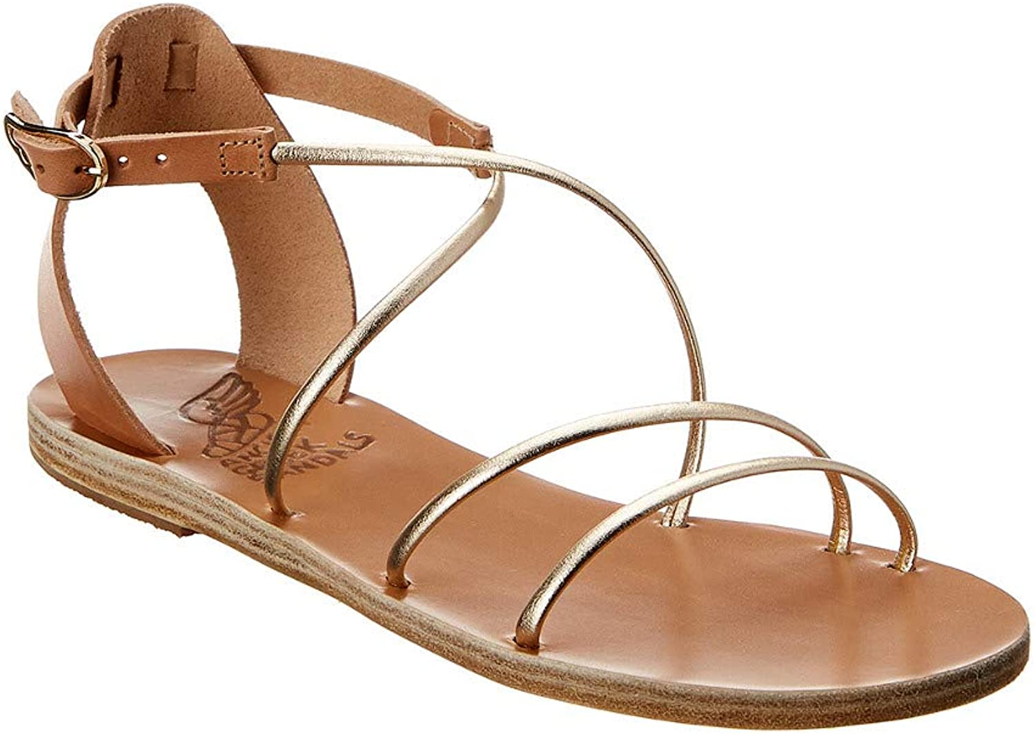 ANCIENT GREEK SANDALS Woman's Meloivia Platinum Leather Sandal