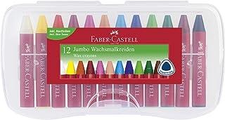 Faber-Castell 120011 - Wachsmalkreiden Jumbo, 12-er Box sortiert