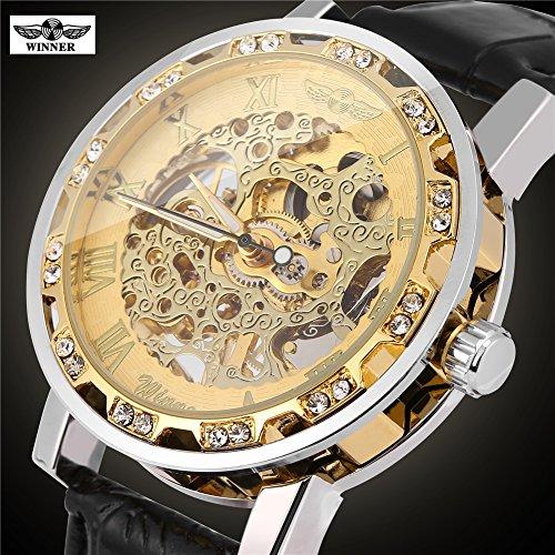Mechanisch horloge, 3 soorten winnaars mannelijk automatische mechanische klok uitgehold PU lederen band polshorloge #3