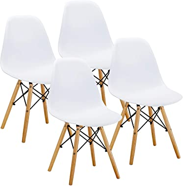 Set of 4 Dining Chair Pre Assembled Modern Style Chair, Shell Lounge Plastic Chair for Kitchen, Dining, Bedroom, Living Room Side Chairs White