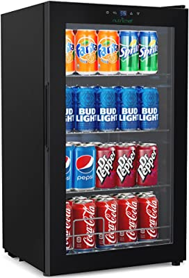 NutriChef 77 Can Beverage Cooler Refrigerator with Glass Door – Beer Cooler Fridge Center