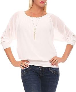 malito more than fashion Malito Damen Bluse mit passender Kette | Tunika mit ¾ Armen | Blusenshirt mit breitem Bund | Elegant - Shirt 1133