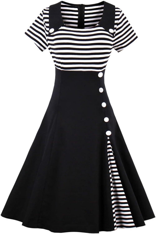 Mulanbridal Retro 50s Vintage Short Sleeves Stripe Swing Rockabilly Ball Party Dress