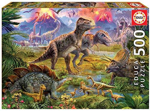 Educa - Encuentro de Dinosaurios Puzzle, 500 Piezas, Multicolor (15969)