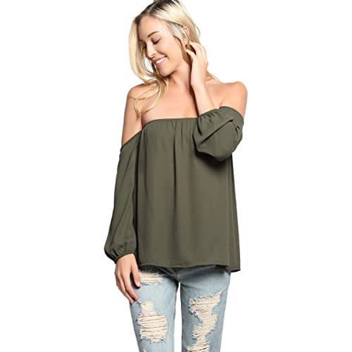 485be701961b73 TheMogan Women s Off The Shoulder Chiffon Blouse Bishop Long Sleeve Flowy  Top