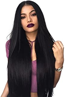 ENTRANCED STYLES Synthetic Wigs for Black Women Long Straight Black Wig Middle Part Heat Resistant Fiber