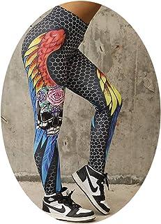 MDFY OEWGRF High Waist Women Geometric Honeycomb Angel Wing Print Hip Breathable Push Up Pants Leggings