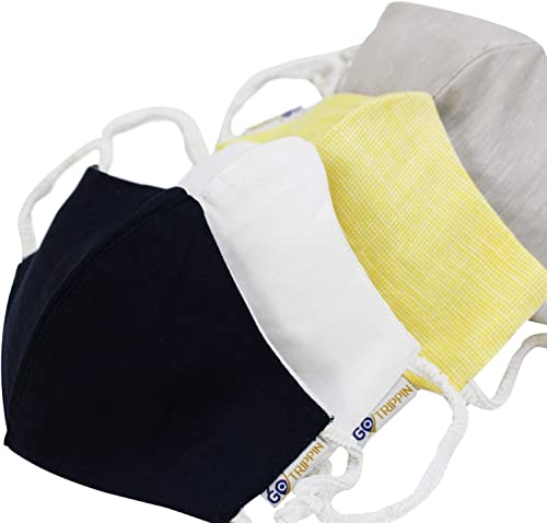 Premium Reusable Washable 3 Layer Linen Cotton Face Mask For Men And Women For Outdoor Protection From Pollution And Dust 4 Pack Mixed Colours White Blue Yellow Brown Grey