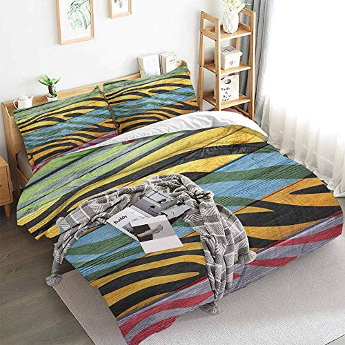 Zebra Print Duvet Cover Set,Colorful Zebra Print on Hardwood Timber Creative Contemporary Art Print,Decorative 3 Piece Bedding Set with 2 Pillow Shams,California King(104'x98') Green Yellow Black