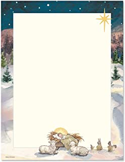 Christmas Tree with Manger Christmas Letter Papers - Set of 25, Holiday Stationery Papers, 8 1/2