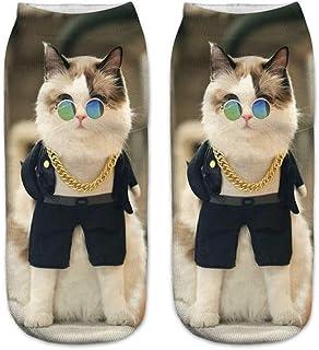 Mimoonkaka 靴下 カジュアル ワークス ビジネス ソックス 3D かわいい 猫 プリント ミディアム スポーツ 面白い 人気 ぴったり 保温性