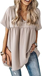 Aooword Women V Neck Loose Short Sleeves Pleated Tunic Tops T-Shirts Blouses
