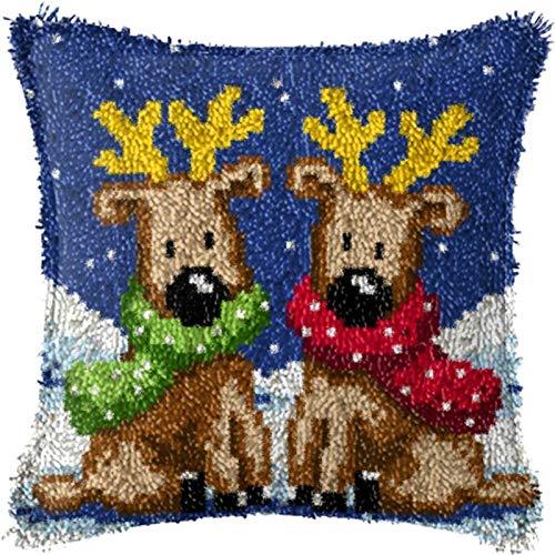 Crochet Kit Weihnachtshandwerk Latch-Haken-Kit, Latch-Haken-Kits for Anfänger, DIY-Kissenbezug Häkeln-Garn unfertige Häkeln-Sofa-Kissenbezug, 43 × 43cm handgefertigt ( Color : C , Size : 43*43 )