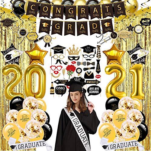 Afstuderen partij benodigdheden, 110 stuks accessoires voor afstuderen decoraties 2020 - inclusief foto stand rekwisieten, opknoping werveling, folie franje gordijn, graduate sjerp, banner, ballonnen