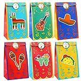Qpout 18 bolsas de Dulces para fiesta con 27 pegatinas, bolsas de galletas del Día de los Muertos del Cinco de Mayo, bolsas de fiesta nupciales de compromiso de cumpleaños con tema mexicano