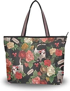 MNSRUU große Damen-Handtasche aus Polyester mit Tragegriff, Schultertasche, Blumenmuster, für Strand, Arbeit, Reisen