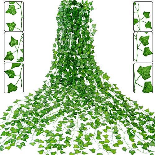 YMHPRIDE - 20 Paquetes De 144 Pies De Hiedra, Guirnalda De Hiedra Artificial, Vid Colgante, Plantas Verdes Falsas, Hojas De Follaje, Ratán Para Boda, Fiesta, Jardín, Pared, Oficina, Decoración