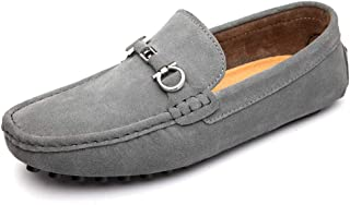 Men Driving Lloafers Casual Classical Soft Rustproof Alloy Suede Leather Boat Moccasins(Warm Optional) casual shoes (Color : Gray, Size : 45 EU)