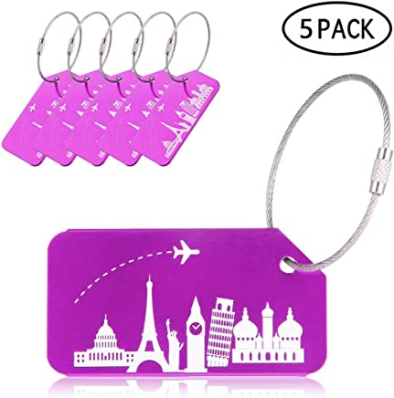 KOBWA Aluminium Luggage Tags, 5 Pack Travel ID Tags with Cable, Travel Labels for Luggage, Suitcases, Hand Bag - with Unique Pattern, Anti-Rust