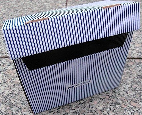 15 Papiertiger Karteikästen A6 Karton Design weißblau faltbar passend für bis zu 300 Karteikarten