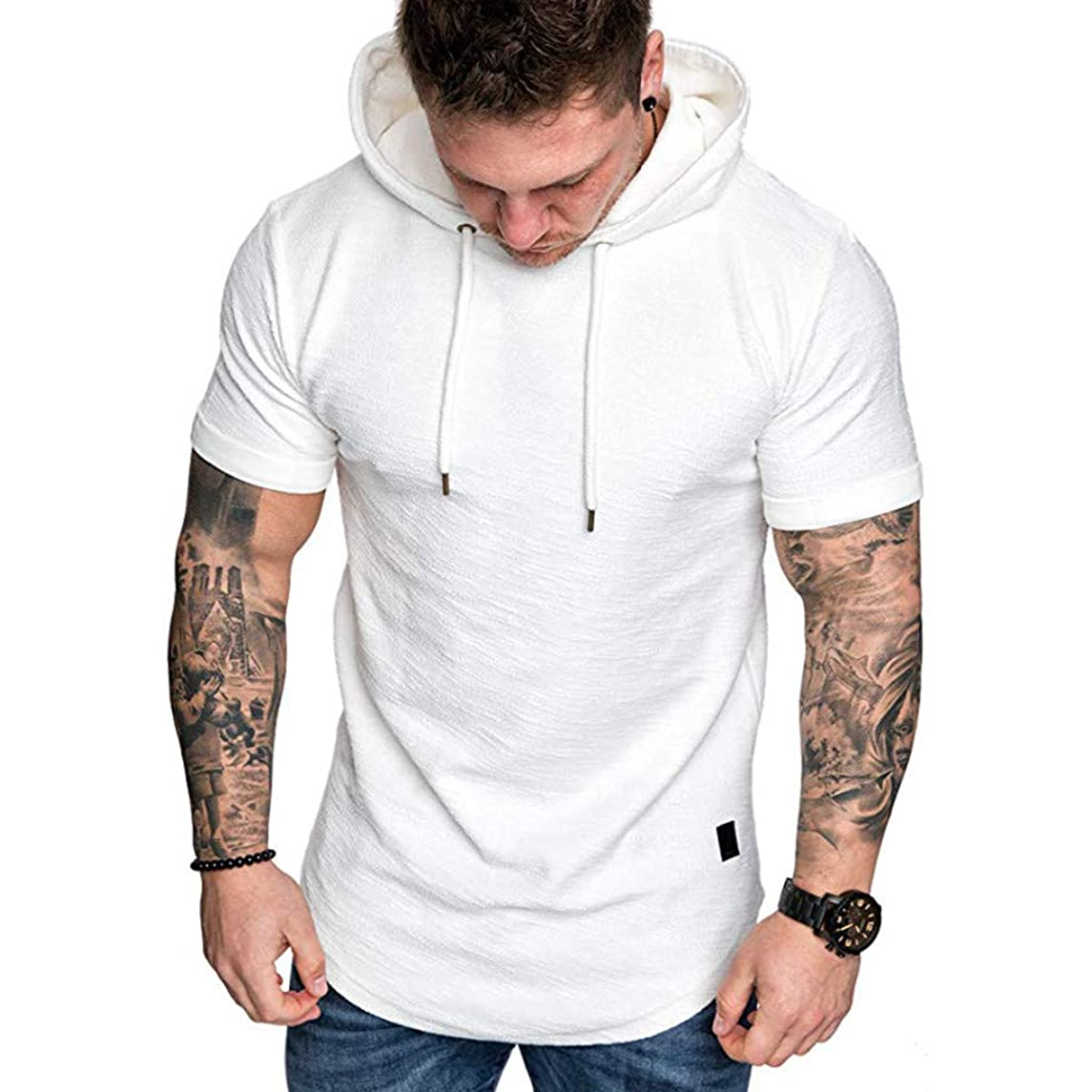 LEXUPA Mens t Shirts Fashion Men's Slim Fit Casual Popular Large Size Short Sleeve Hoodie Top Blouse