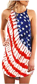 Independence Day Sling Dress American Flag Stars Printed Stripes Camis Sleeveless Casual Midi Dress for Women