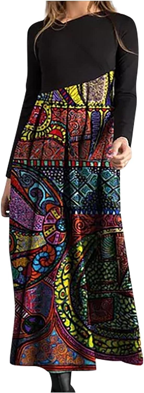 VEZAD Women's Autumn V-Neck Casual Slim Long Sleeve Long Dress Bohemian Splicing Printed Dresses