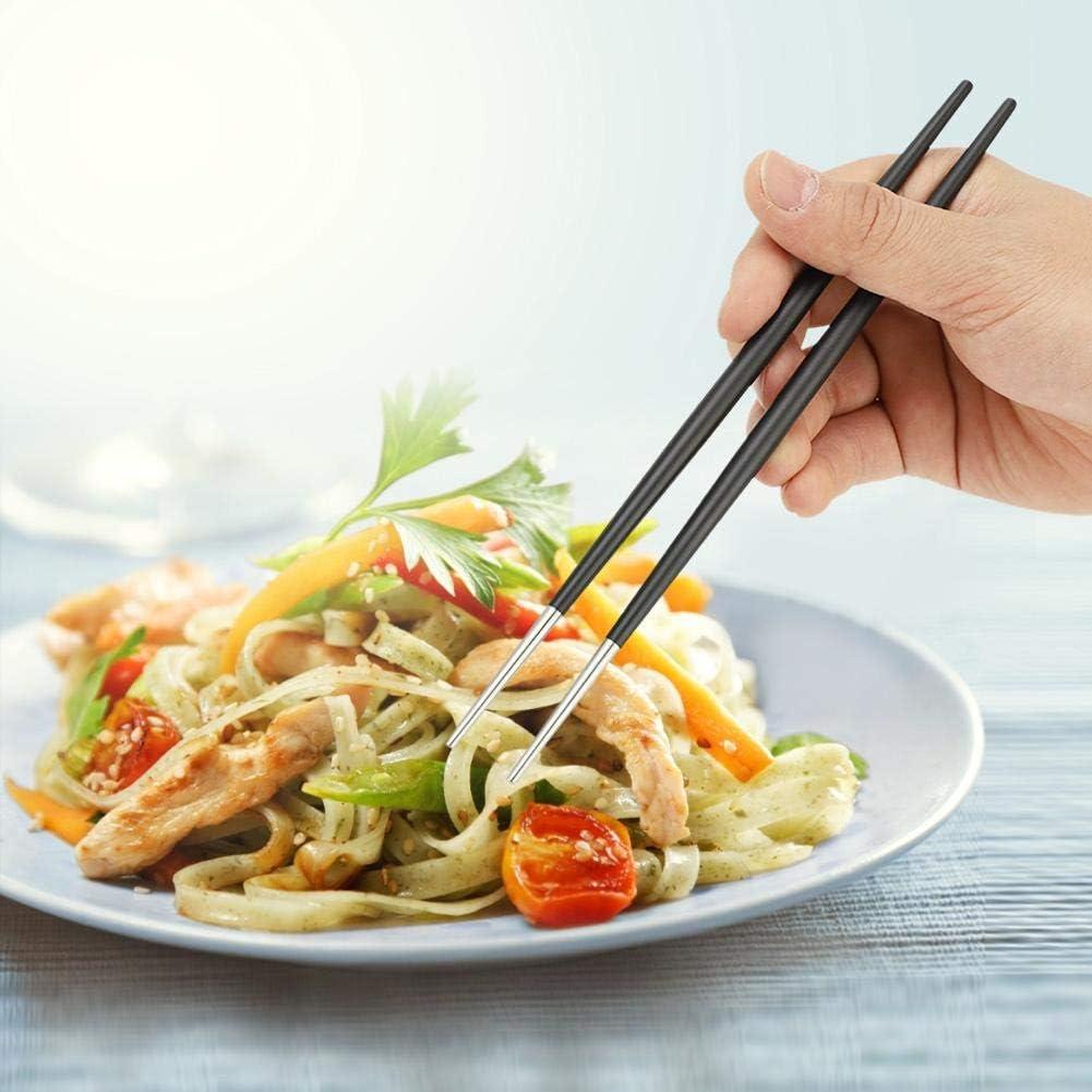 Zerodis Palillos Chinos de Acero Inoxidable 304 Juego de vajilla de Palillos de Sushi japon/és Inicio Cocina Comedor Cubiertos Negro