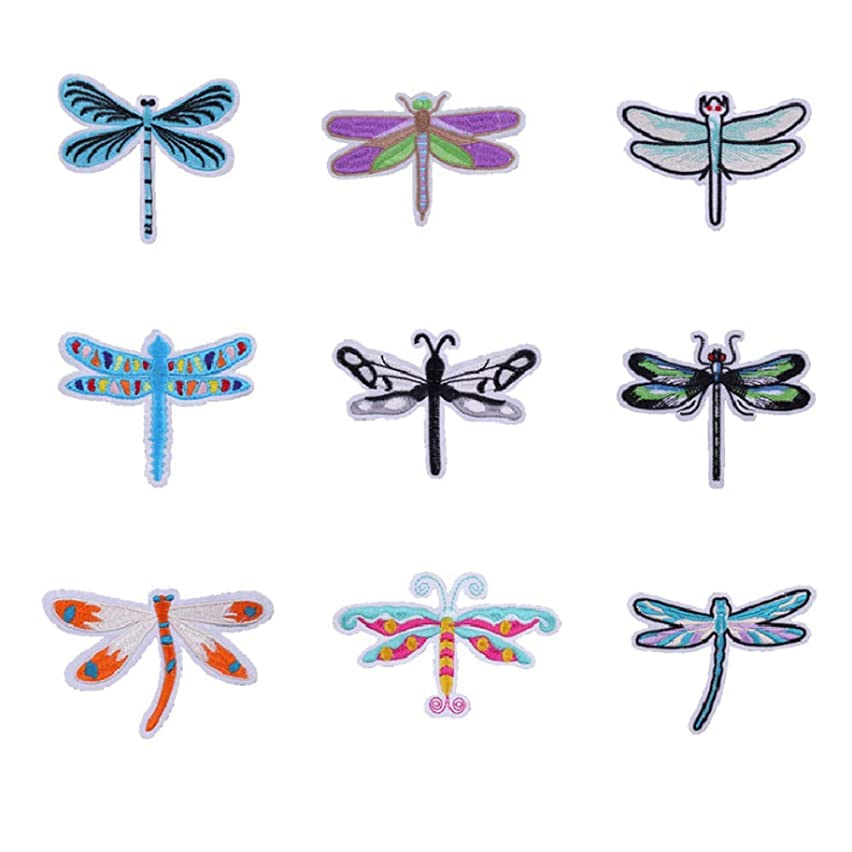 9 Pcs Embroidered Cartoon Dragonfly Patch Iron On Patches for Clothes Sticker Stripe Parches Cute Butterfly Applique DIY Décor