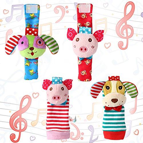 Acekid bebé pie sonajero, 4pcs muñeca sonajero y Calcetines Juguetes Set niño Juguetes de Animales Suaves Cerdo y Perro