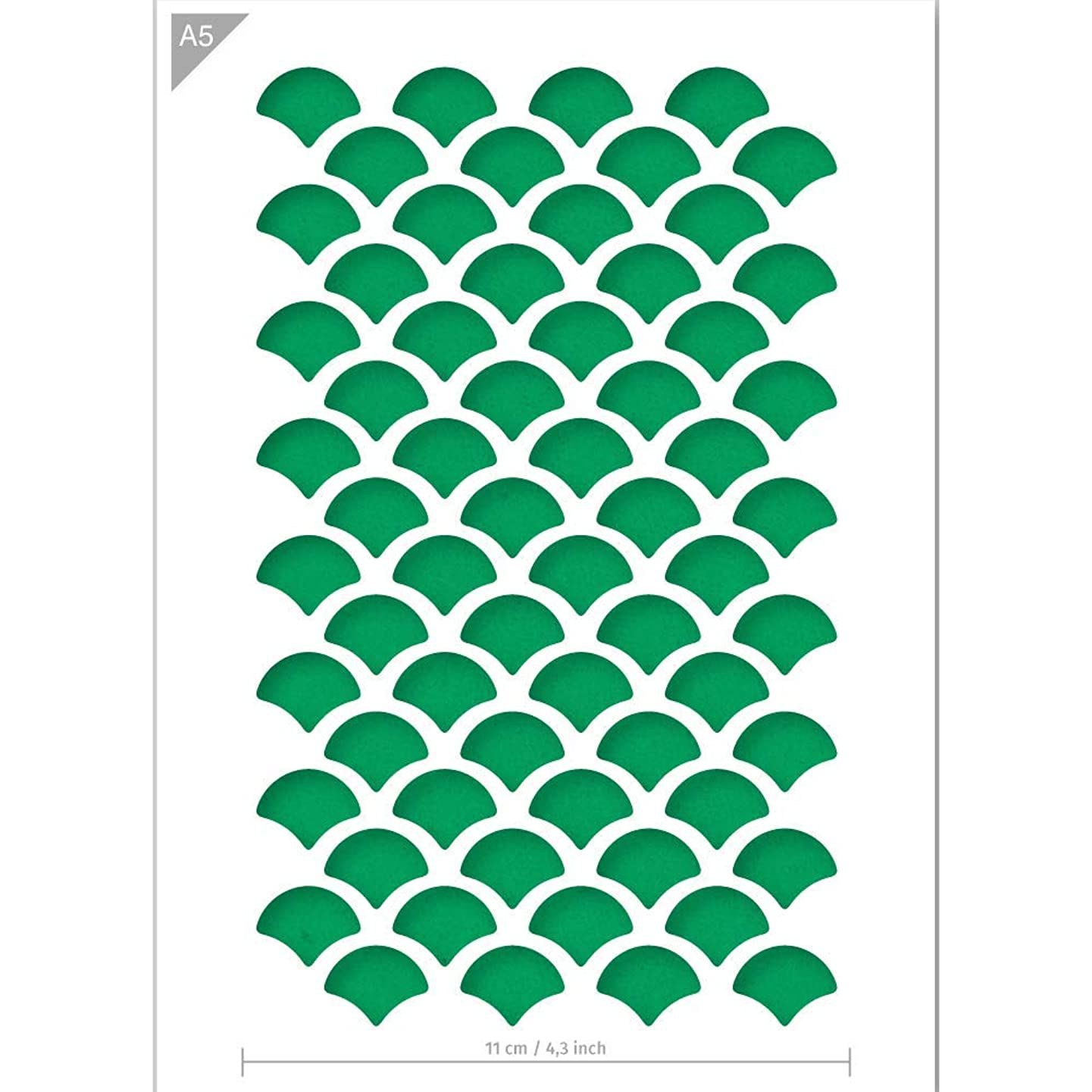 Qbix Scales Stencil - Fish Scales Stencil - Pattern Stencil - A5 Size - Reusable Kids Friendly DIY Stencil for Painting, Baking, Crafts, Wall, Furniture