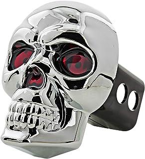 Bully CR-018 Chrome Skull Emblem LED Light Trailer Tow Hitch Receiver Cover with Plug In LED Brake Lights for Chevy, Dodg...