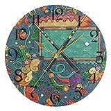 ART VVIES Reloj de Pared Redondo de 10 Pulgadas, sin tictac, silencioso, Manos Negras, Funciona con Pilas, Oficina, Cocina, Dormitorio, decoración del hogar, Mesa de Billar y Billar