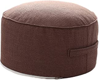 idee-home Round Ottoman Pouf for Footstool - Pouffe Foot Rest Meditation Living Room Bedroom Small Space | with Handle & Removable Cover | Coffee 14