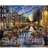 syssyj Pintar por números Amor en Amsterdam Paisaje DIY Pintura Digital por números Arte Moderno de la Pared Pintura de la Lona Regalo para niños