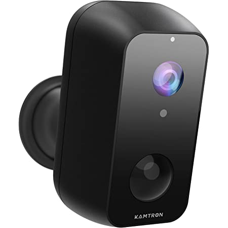 IP65 Waterproof,Cloud Service KAMTRON 1080P Home Security Rechargeable Battery Powered Camera 2.4G WiFi with Night Vision Wireless Outdoor Security Camera Black Motion Detection and 2-Way Audio
