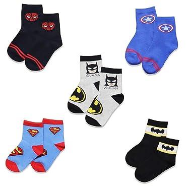 5 Pairs Boys Socks Kids Superhero Adventures Spiderman Captain America Superman Batman Athletic Crew Socks