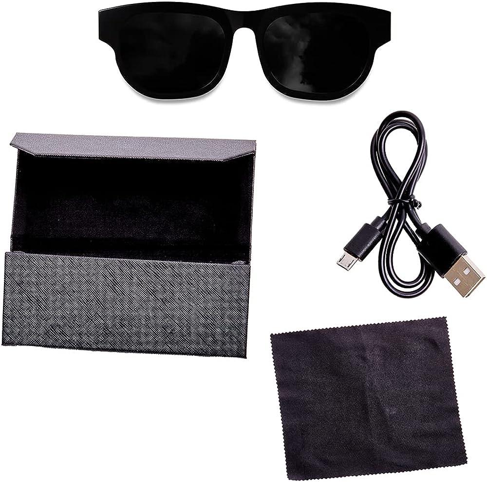 Sound Glasses, Bluetooth Sunglasses with Smart Audio Frames, Polarized Sunglass Lenses, Angular – Black