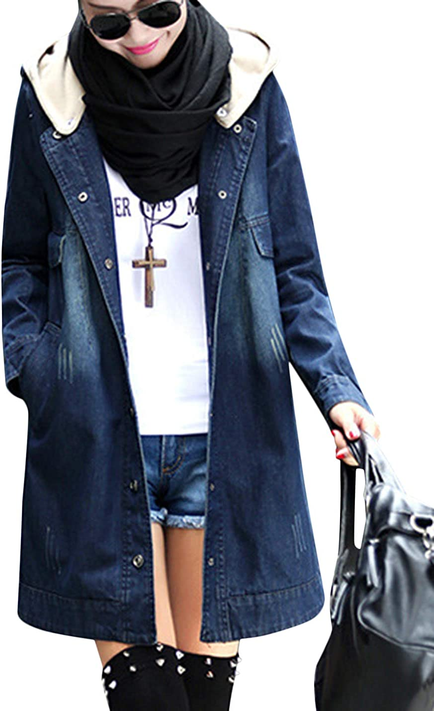 Tanming Women's Casual Hooded Buttons Up Epaulet Denim Jean Jacket Coats