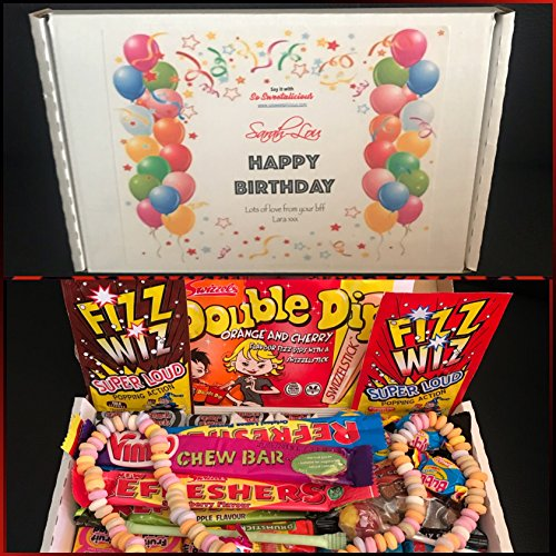 Personalised Retro Sweets Gift Box - Happy Birthday Anniversary Engagement Thank You Congratulations Sweets Mega Fun Box !!