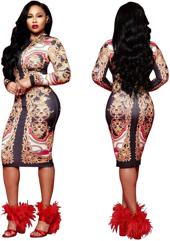 Ekaliy Women Sexy African Dashiki Midi Dresses Knee Length Long Sleeve Clubwear
