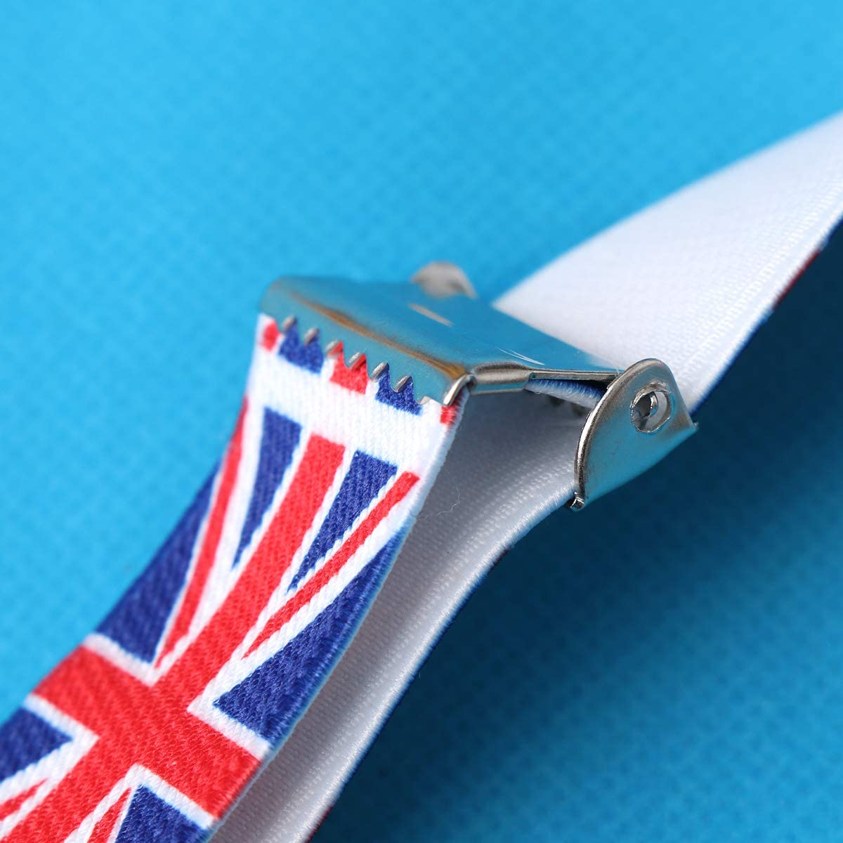UK Flag Clip-on Suspenders Adjustable Printing Elastic Y-Shaped Braces for Men Women