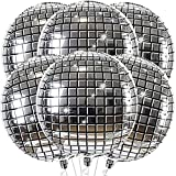 Big Disco Balloons for 70s Disco Party Decorations - Pack Of 6 | Large 22 Inch 360 Degree 4D Round Sphere Metallic Disco Ball Balloons | Mirror Finish Disco Mylar Balloons for Birthday, Bachelorette