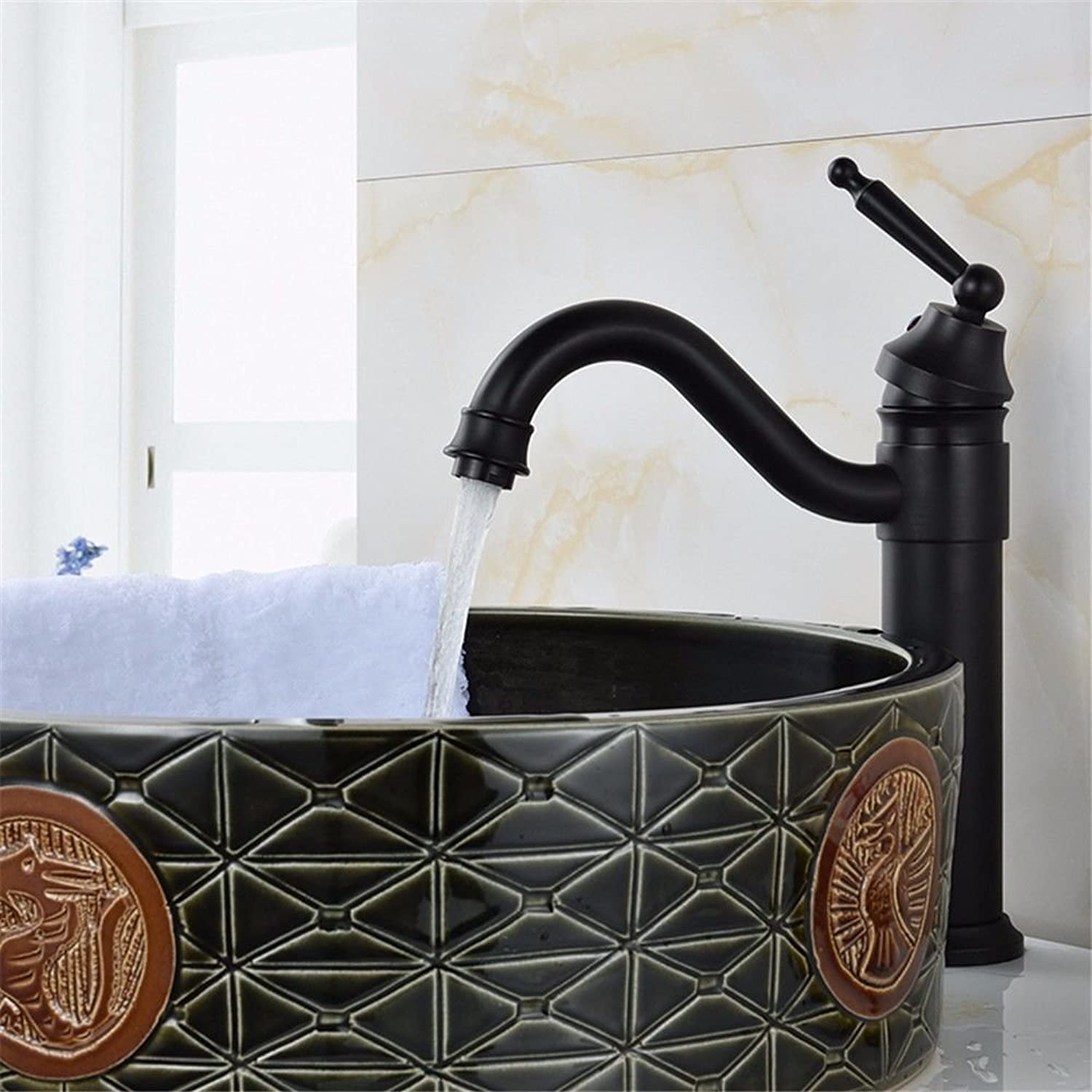 Hlluya Professional Sink Mixer Tap Kitchen Faucet Black antique wash basin mixer full copper basins and cold water and high surface basin mixer basin bathroom