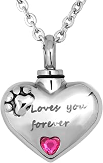 KunBead Love Heart Mom Dad Family Wife Urn Necklace for Ashes Always in My Heart Cremation Locket Pendant