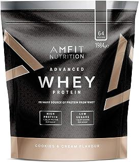 Marca Amazon - Amfit Nutrition Proteína Whey de suero de leche sabor Cookies & Cream, 64 porciones,  1980 g