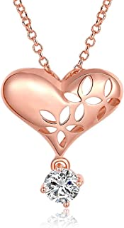 Kaizer Jewelry 18K Rose Gold Plated Solitaire Heart Swarovksi Elements Inspired Cubic Zircon Pendant for Women Girls