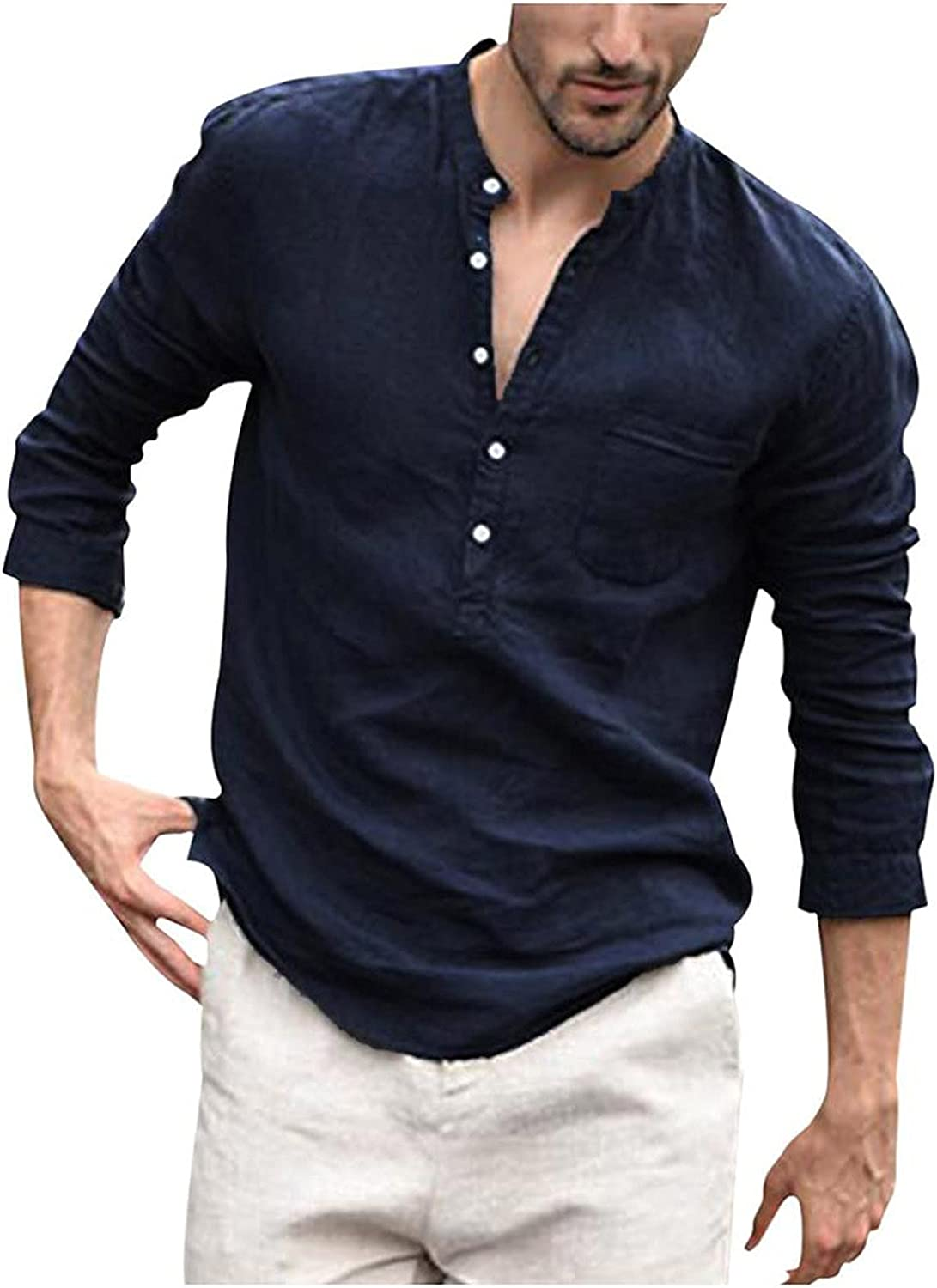 Mens Long Sleeve Henley Shirts Solid Loose Fit Blouse Tops Lightweight Linen T Shirt with Pockets