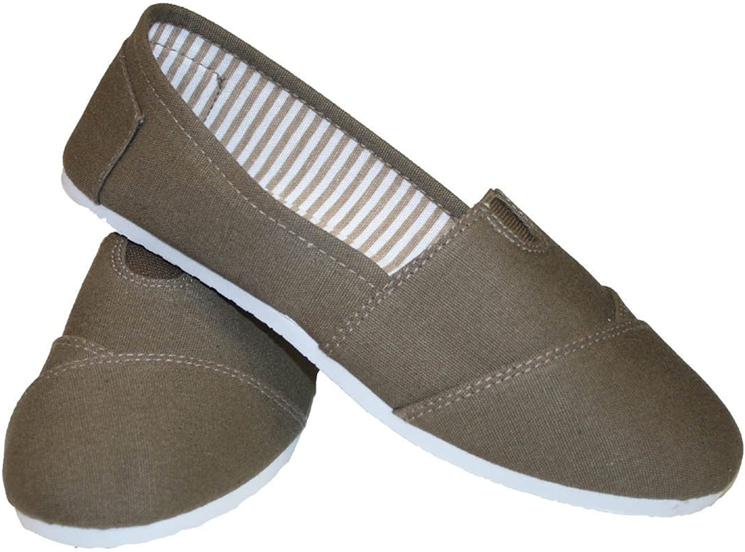 Women Canvas Slip-on Flats Brown With White Sole